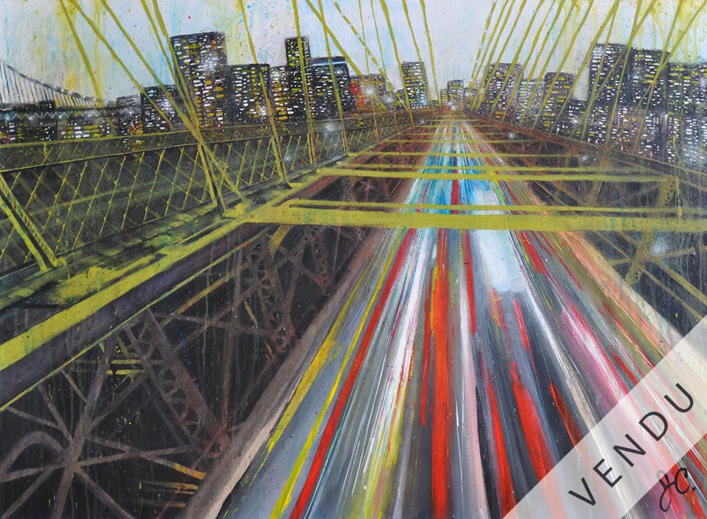 Cette oeuvre représente une vue spectaculaire du pont de Brooklyn en pleine heure de traffic au crépuscule. Les couleurs sont vibrantes, particulièrement celles représentant les lumières de la ville et des voitures, tel qu'évoqué par le titre : Thousand lights. On y retrouve les éléments de mon style unique, c'est-à-dire le dripping et un contraste fort.
